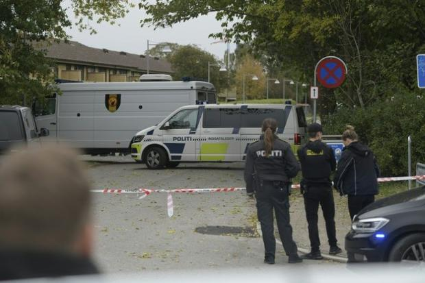 Police cordon off a street during the standoff with convicted killer Peter Madsen