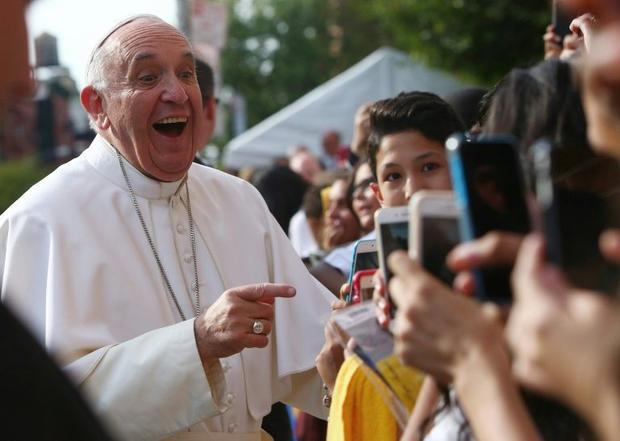 Pope Francis arrives at Our Lady Queen of Angels School in East Harlem  in New York  on September 25...