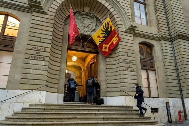 The Geneva courthouse has put up plexiglass barriers to keep participants apart due to the coronavir...