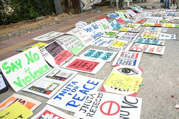 Placards supporting Jawaharlal Nehru University students on display on a roadside near the campus in...