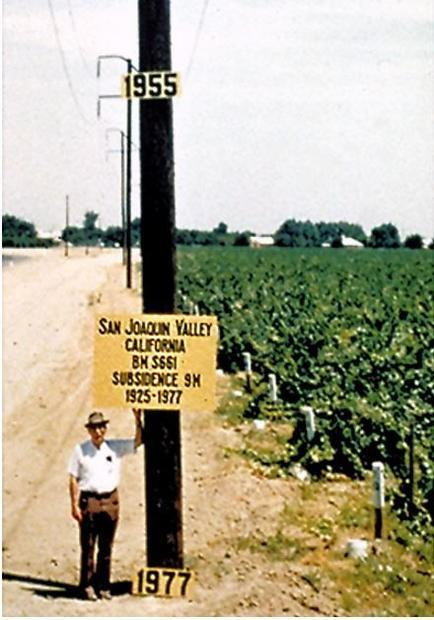 Approximate location of maximum subsidence in the United States identified by research efforts of Dr...