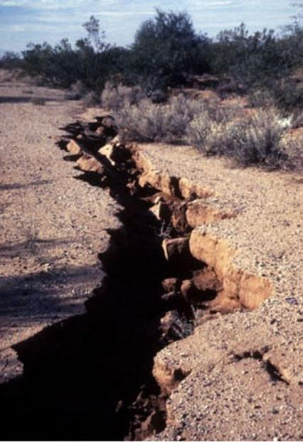 Fissures due to land subsidence can occur when groundwater supplies are depleted.
