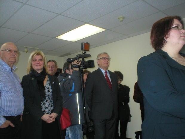 Dr Pierre Reid MNA for Magog-Orford prepares to speak at Webphre Radio Magog press conference 12/01/...
