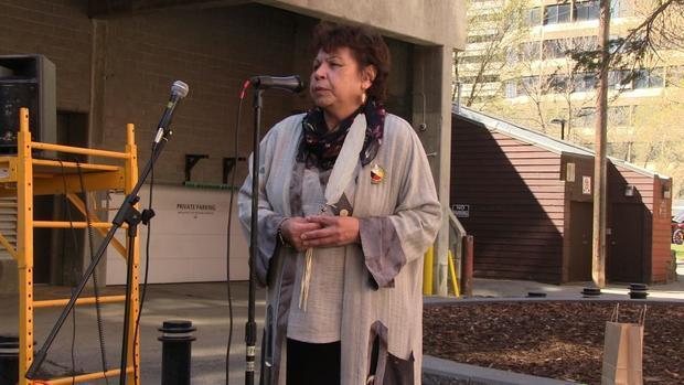 Earth Day 2015 in Edmonton. Elder Betty Letendre gives the opening blessing.