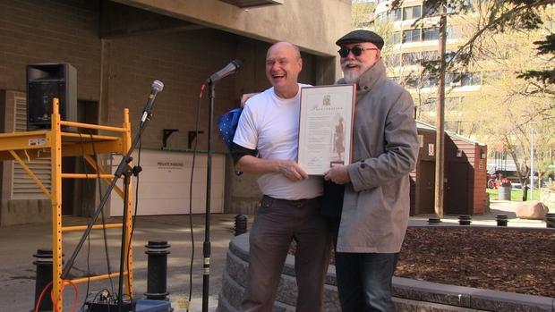 Earth Day 2015 in Edmonton. Organizer Michael Kalmanovitch (left) with Councillor Scott McKeen.